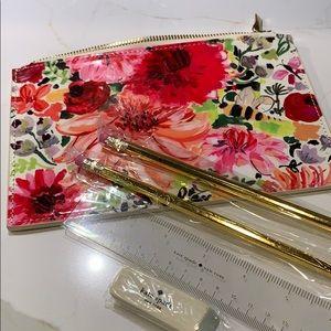 Kate Spade pencil case with pencils etc